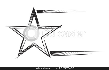 Star on sketch stock vector clipart, Sketch of star and peace of frame isolated on white by Oxygen64
