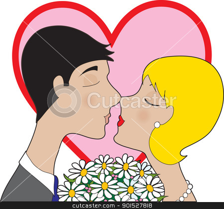 Couple Kissing stock vector clipart, A male and female couple kissing, with a bouquet of daisies between them and a large red and pink heart behind them. by Maria Bell