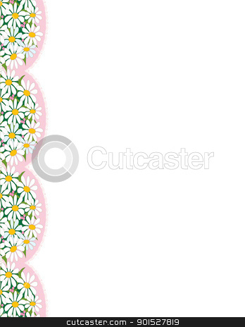 Daisy Border stock vector clipart, A border with the images of daisies on pink doilies, trailing down the left margin. by Maria Bell