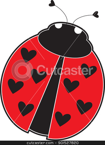 Lady Bug stock vector clipart, A cute lady bug with hearts, instead of dots on its red back. by Maria Bell