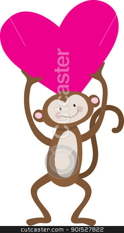 Monkey Heart stock vector clipart, A cute, smiling monkey is holding a large pink heart above his head. by Maria Bell