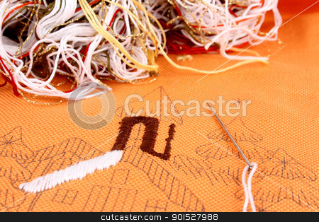 embroidery stock photo, stitching a winter landscape in detail by FranziskaKrause