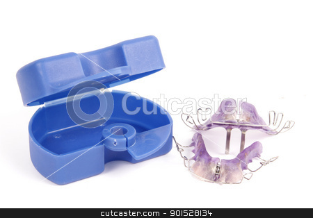braces with blue box stock photo, braces with blue box by FranziskaKrause