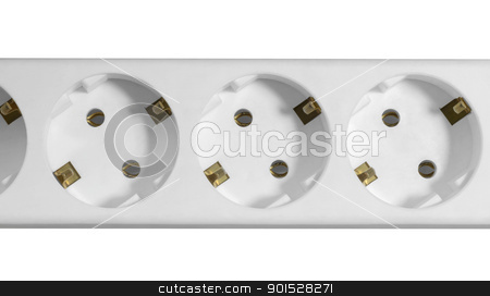 white multiple socket detail stock photo, studio photography of a white multiple socket detail in white back by prill