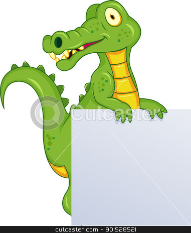 Crocodile With Blank Sign stock vector clipart, Vector Illustration Of Crocodile With Blank Sign by Surya Zaidan