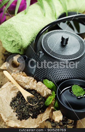 asian tea set and spa settings stock photo, asian tea set and spa settings on wooden board by klenova