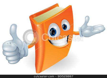 Book character illustration stock vector clipart, Book cartoon character mascot giving a thumbs up by Christos Georghiou
