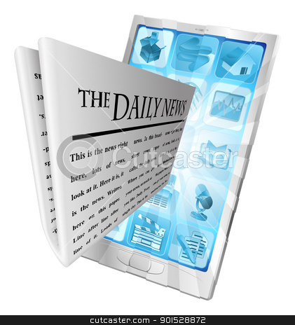 News phone app concept stock vector clipart, Newspaper coming out of phone screen concept by Christos Georghiou