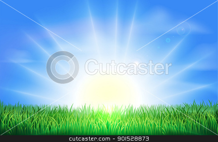 Sunrise over green field of grass stock vector clipart, The sun rising or setting over a beautiful green field of grass with bright blue sky by Christos Georghiou