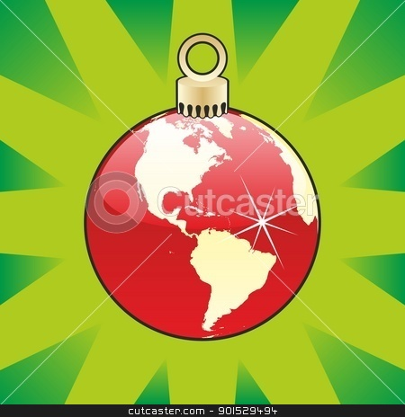 christmas bulb with world globe layout stock vector clipart, fully editable colored christmas bulb with world globe layout by pilgrim.artworks