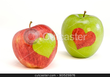 two lovers apples stock photo, red apple with green heart and green apple with red heart by Malgin
