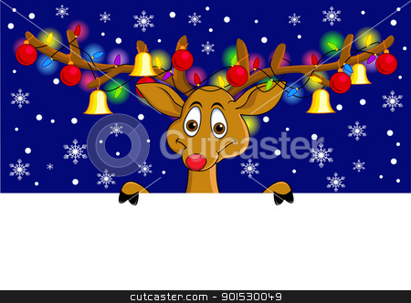 Deer And Blank Sign stock vector clipart, Vector Illustration Of Deer And Blank Sign by Surya Zaidan