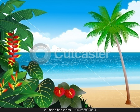 Tropical beach background  stock vector clipart, Vector Illustration of Tropical beach background  by Surya Zaidan