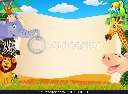 Animal Cartoon With Blank Sign stock vector clipart, Vector Illustration Of Animal Cartoon With Blank Sign by Surya Zaidan