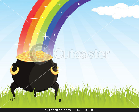 gold_cauldron_grass stock vector clipart, Pot of gold on the grass with a rainbow . by wingedcats