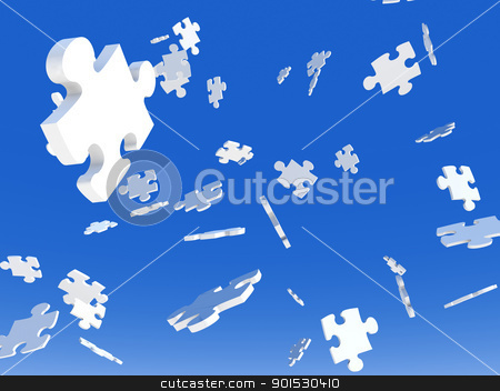 Falling Puzzle Pieces stock photo, 3D Illustration. Puzzle Pieces falling from the Sky.  by Michael Osterrieder