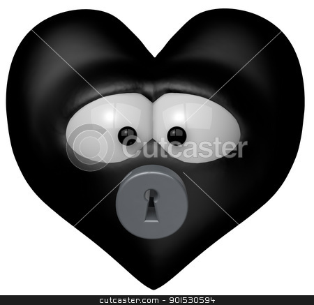 closed heart stock photo, black heart with keyhole - 3d cartoon illustration by J?