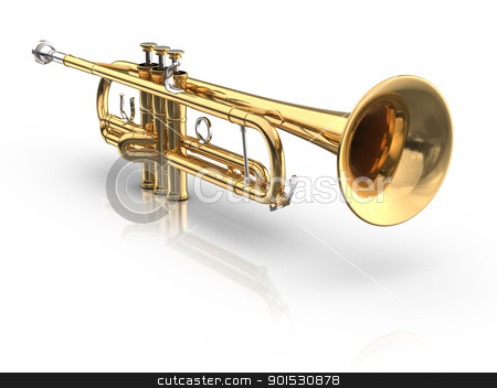 Trumpet stock photo, 3D rendered trumpet on white background with reflection and shadow. by ayzek