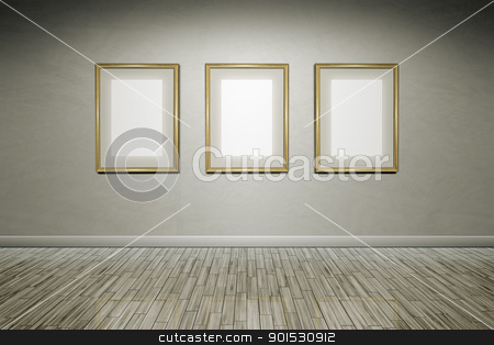 grunge wall frames stock photo, A grunge wall with golden frames for your content by Markus Gann