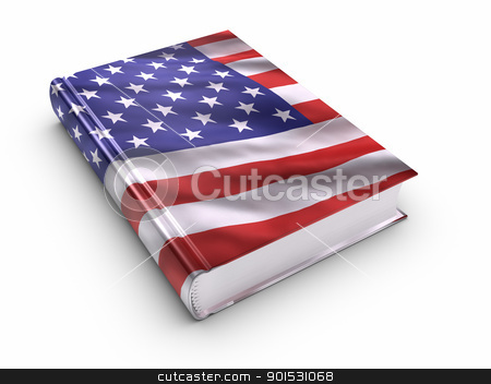 Book covered with American flag stock photo, Book covered with American flag. by ayzek