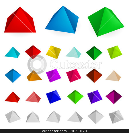 Pyramids stock photo, Pyramids in various combinations of position for training  by dvarg