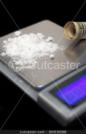 cocaine addiction  stock photo, cocaine drug powder over black abuse concept with digital scale over black by Francesco Perre