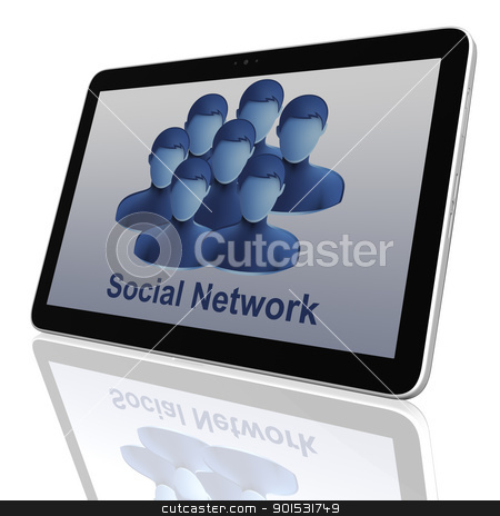 Social Network Group of Tablet Computers stock photo, Social Network Group of Tablet Computers by Adam Radosavljevic