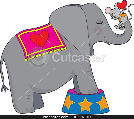 Elephant and Mouse stock vector clipart, A circus elephant standing on a circus tub, has a mouse with a red heart on her trunk. by Maria Bell