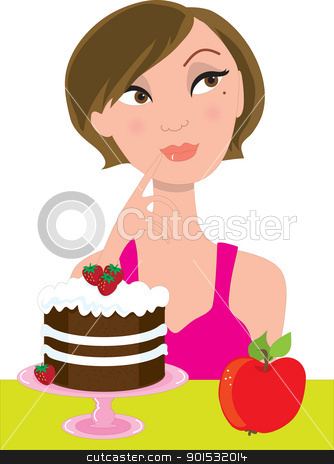Girl Deciding stock vector clipart, An attractive brunette in a pink dress, is trying to decide between an apple and a strawberry shortcake. by Maria Bell