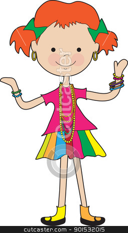 Little Girl Jewelry stock vector clipart, A brightly dressed young girl, is adorned with some very colorful jewelry. by Maria Bell