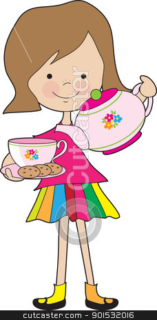Little Girl Tea stock vector clipart, A brightly dressed young girl, is serving tea and cookies using a colorful tea set. by Maria Bell