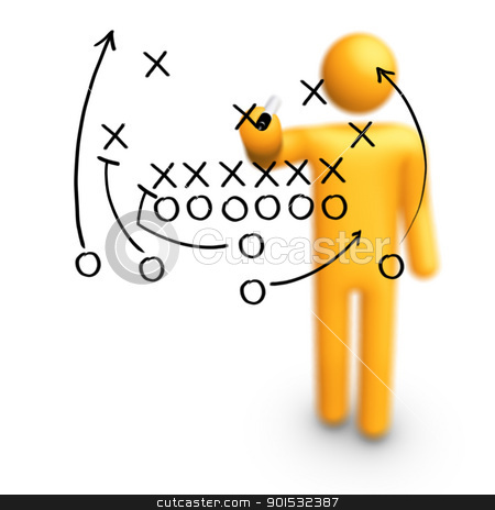 American football Strategy stock photo, Stick Figure Coach American football Strategy by ayzek