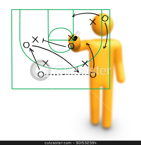 Basketball Strategy stock photo, Stick Figure Coach Basketball Strategy by ayzek