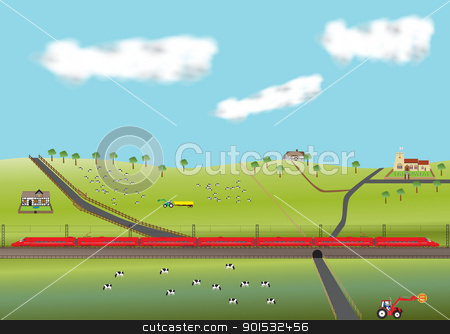 Red High Speed Train stock vector clipart, A High Speed Train travelling through farmland with old Church and  thatched cottages by d40xboy