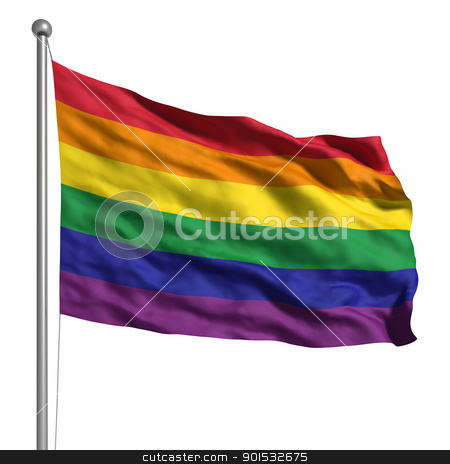 Gay Pride / Rainbow Flag stock photo, Gay Pride / Rainbow Flag. Rendered with fabric texture (visible at 100%). Clipping path included. by ayzek