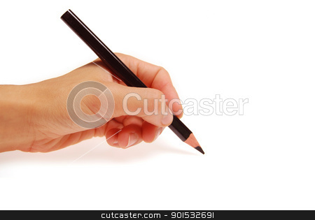 Pencil in woman hand isolated on white background  stock photo, Pencil in woman hand isolated on white background  by photomyheart