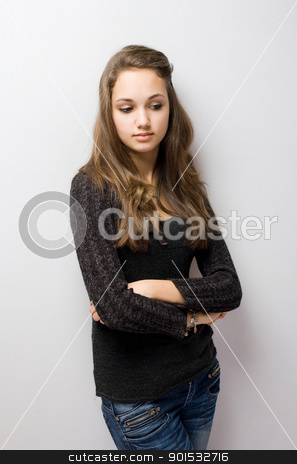 Thoughtful young brunette. stock photo, Half length portrait of a thoughtful young brunette. by exvivo
