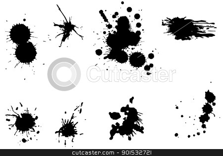 Several drops of black on a white background. stock photo, Several drops of black on a white background. by photomyheart