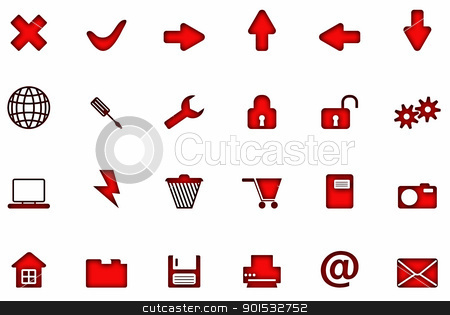 New Icons electronic red on white. stock photo, New Icons electronic red on white. by photomyheart