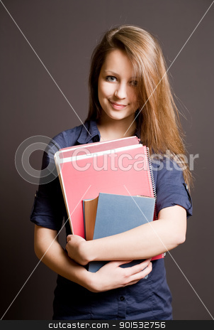 Beautiful smiling young student girl. stock photo, Half length portrait of a beautiful smiling young student girl by exvivo