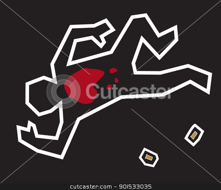 Crime Scene stock vector clipart, A stylized illustration of a classic crime scene with a chalk outline of the body and bullets used in the crime. by Jamie Slavy