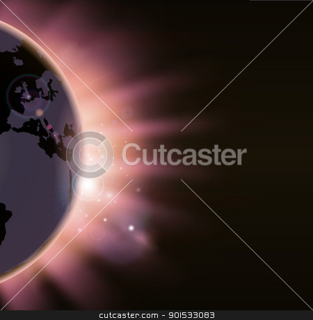 Sun rays burst over the globe stock vector clipart, Illustration of the suns rays bursting over the world globe. Europe side visible by Christos Georghiou