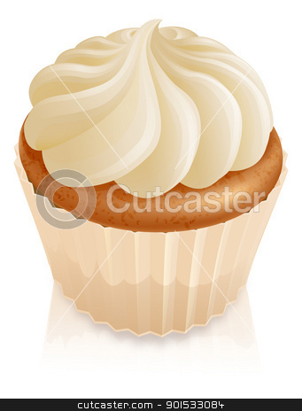 Fairy cake cupcake stock vector clipart, Illustration of fairy cake cupcake with white butter cream icing on top by Christos Georghiou