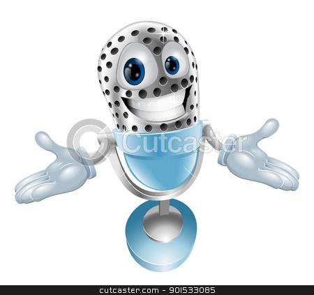 Cartoon microphone mascot stock vector clipart, A cute cartoon microphone mascot character illustration by Christos Georghiou