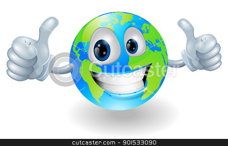 Globe earth mascot with thumbs up stock vector clipart, Illustration of a smiling happy globe world character giving a double thumbs up by Christos Georghiou