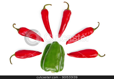 Sweet and hot peppers stock photo, Green sweet pepper and several red pepper isolated on a white background by rezkrr