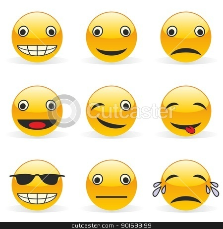 Emoticons vector stock vector clipart, fully editable vector illustration of funny emoticons by pilgrim.artworks