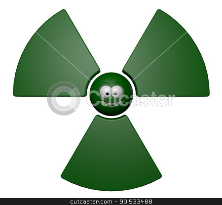 nuclear stock photo, nuclear symbol with grin comic face - 3d illustration by J?