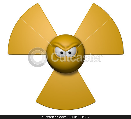 bad energy stock photo, nuclear symbol with grim comic face - 3d illustration by J?