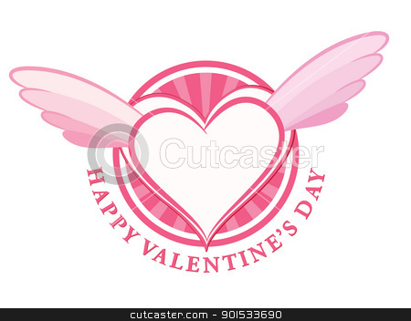 HAPPY Valentine day stamp with heart and wings stock vector clipart, HAPPY Valentine day stamp with heart and wings. Vector illustration. by antkevyv